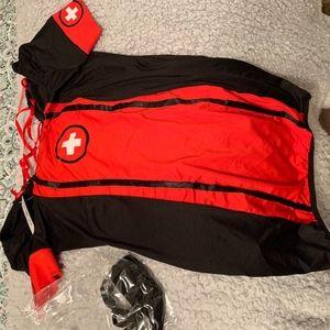 nurse costume, red and black dress costume